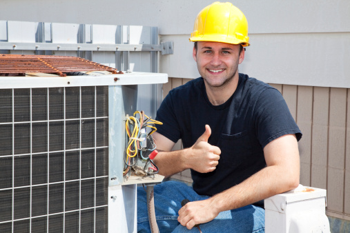 Commercial HVAC technician thumbs up